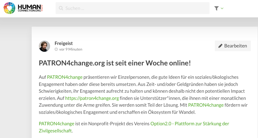 PATRON4change auf HUMAN connection
